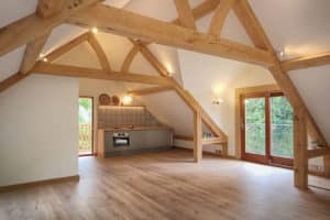 oak framed room above garage