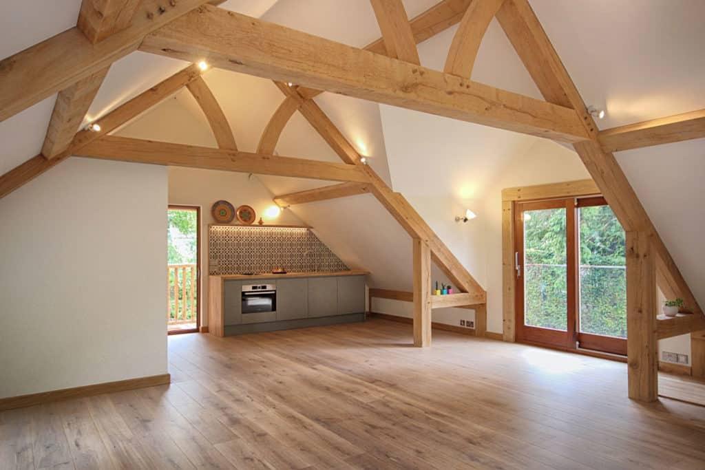 oak framed room above garage